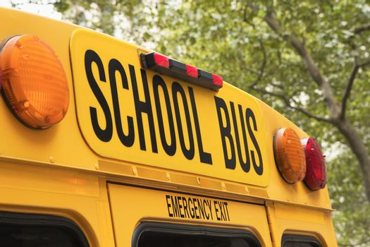 Yellow back of school bus with a sign