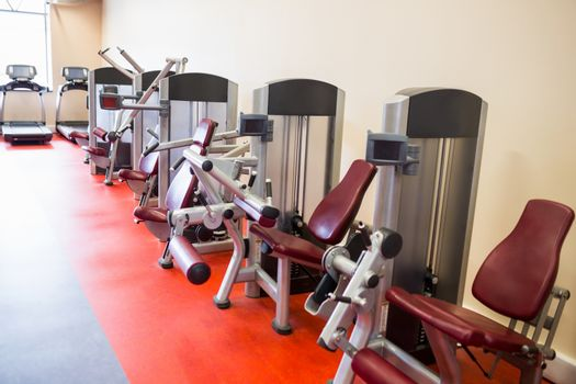 Row of weights machines