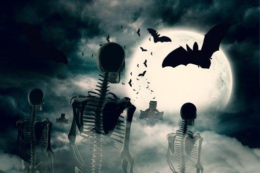 Army of skeletons under full moon