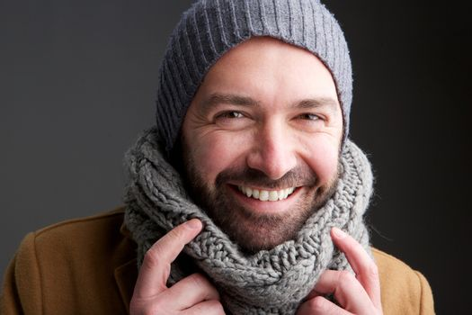 middle age man with hat and scarf