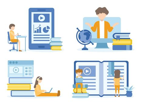Student learning online courses. Man training online courses. Concept Illustration of education for training, studying, e-learning, and online course.