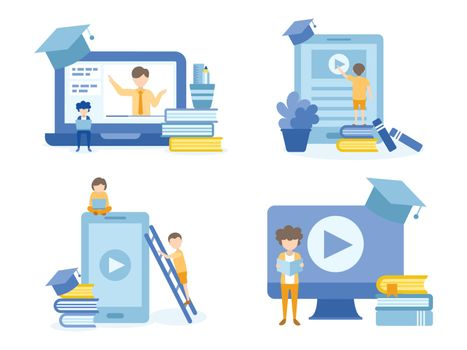 Student learning online courses. Concept Illustration of education for training, studying, e-learning, and online course.