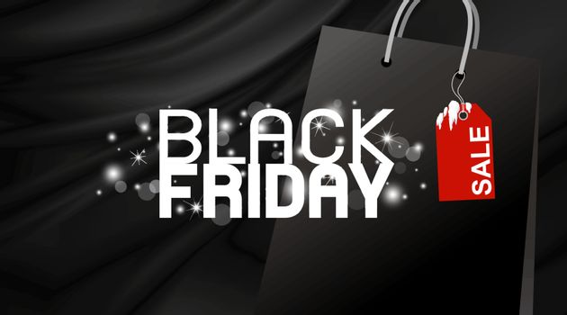 Black friday banner design on fabric background vector illustration