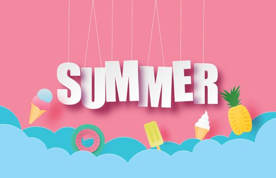Hello summer banner or poster with hanging text and decoration i