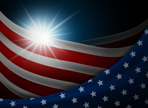 American or USA flag with light background vector illustration