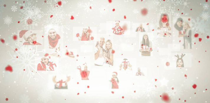 Christmas people collage against snowflake pattern