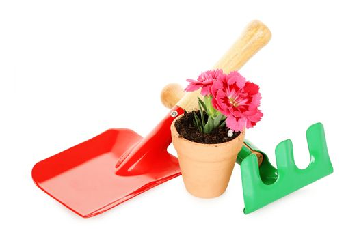 gardening tools and flower pot isolated on white