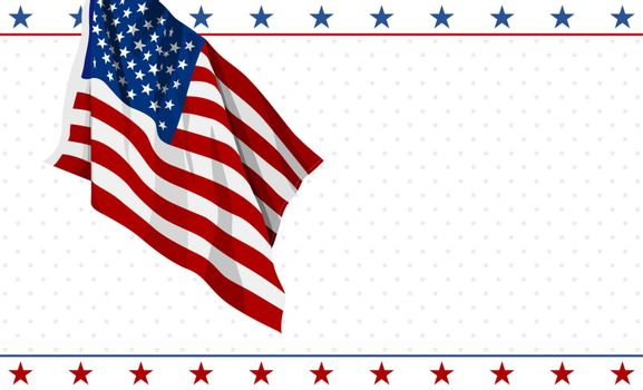 American flag design on white background 4th of july USA Independence day banner vector illustration
