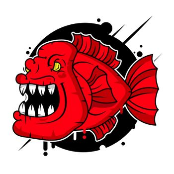 Piranha Logo Vector Illustration Suitable For Greeting Card, Poster Or T-shirt Printing.