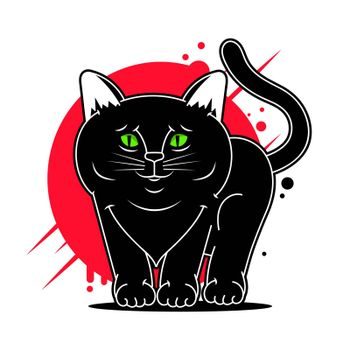 Vector Cartoon Black Cat Vector Illustration Suitable For Greeting Card, Poster Or T-shirt Printing.