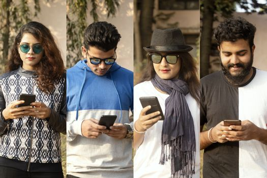 College of people busy on mobile - group of modern trendy millennials using smartphone - concept of social media, internet, e commerce, technology usage.