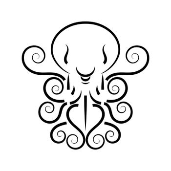 Stylized Silhouette Of An Octopus On White Background. Logo Design For Company. Vector Illustration Suitable For Greeting Card, Poster Or T-shirt Printing.