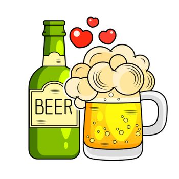Glass Of Beer And Bottle Flat Icon. Vector Illustration Suitable For Greeting Card, Poster Or T-shirt Printing.