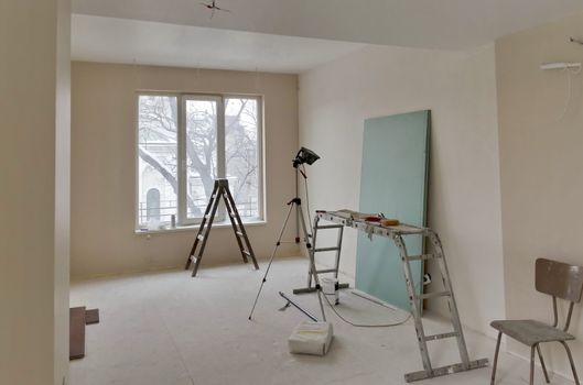 Room renovation with some painting tools available, Sofia, Bulgaria