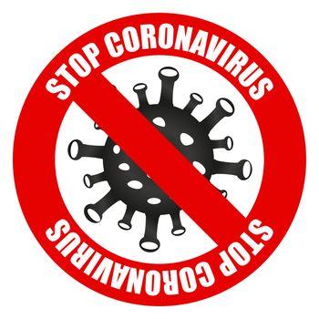 2019-nCoV Novel coronavirus bacteria. Coronavirus icon and red prohibit sign. Stop coronavirus. No infection. Dangerous coronavirus cell in Wuhan China. Isolated on white stop coronavirus icon