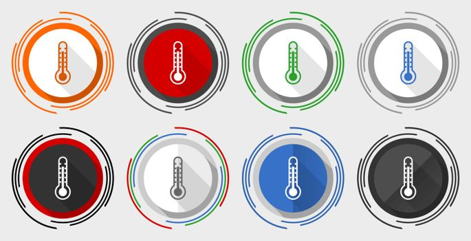 Thermometer vector icon set, modern design flat graphic in 8 options for web design and mobile applications