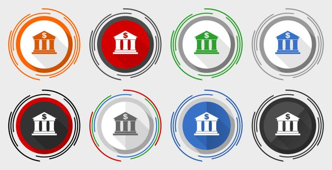 Bank vector icon set, modern design flat graphic in 8 options for web design and mobile applications
