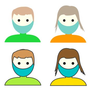 Man and Woman medical face protection mask. Icon of depressed and tired people wearing protective surgical mask. Medical concepts of sickness, disease, alergies, pollution, covid