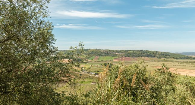 view of the Portuguese countryside from Obidos, Portugal on a spring day