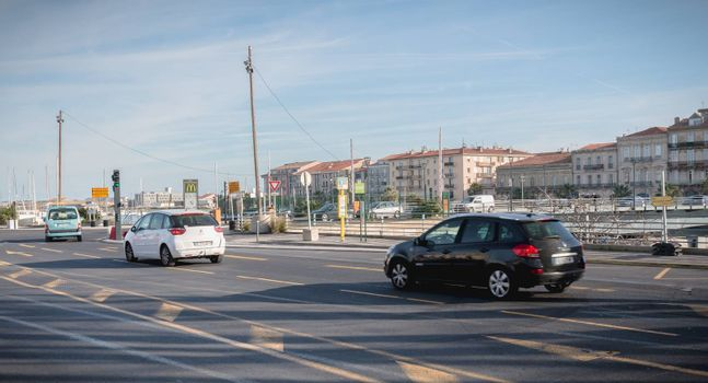 Sete, France - January 4, 2019: car traffic in the city center on a winter day
