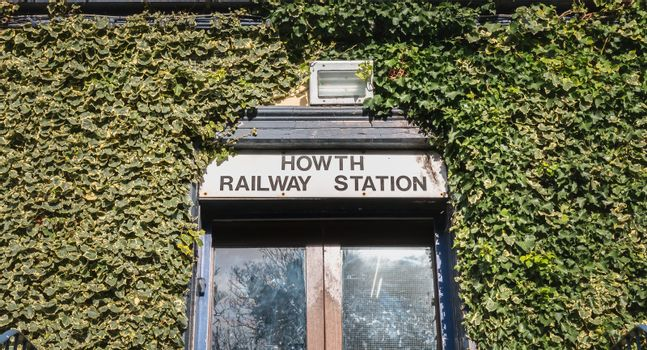 Howth near Dublin, Ireland - February 15, 2019: View of the Howth railway station DART on a winter day