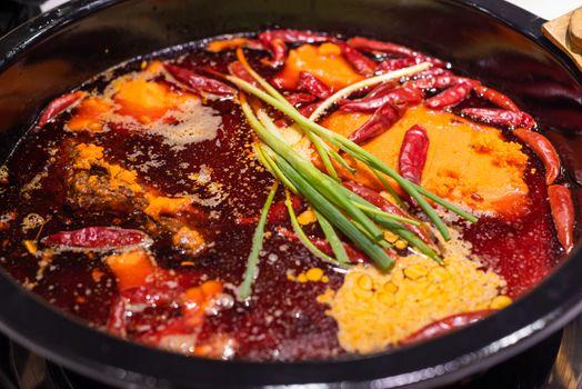 Sichuan boiling hotpot with chili pepper in Chengdu