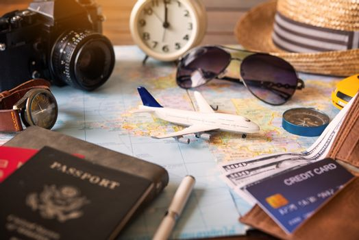 The plane is placed on the map and has a passport to convey the