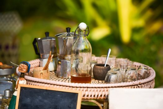 Antique coffee set in Thailand With a mixture of honey