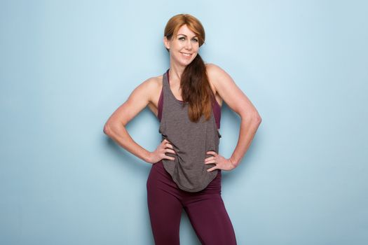 Mature woman with muscular body