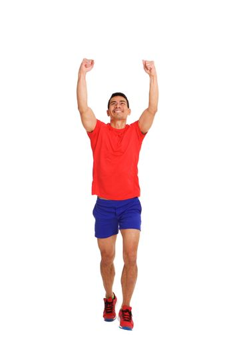 Mature runner celebrating the win