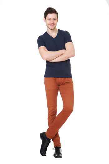 Full body happy young man against isolated white background