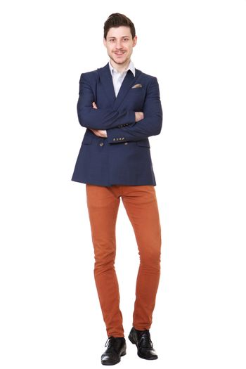 Full body young businessman against isolated white background