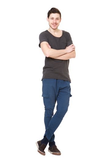Full body  cool young man against isolated white background