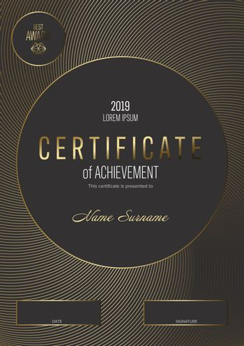 Modern black certificate template with golden accent