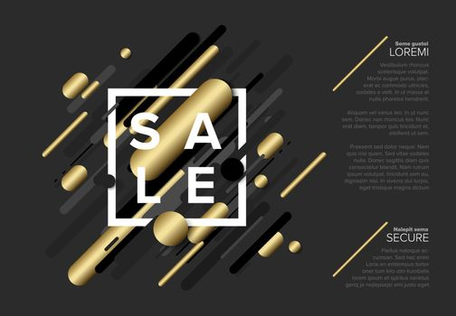 Vector futuristic black friday sale flyer made from big gray and golden lines - dark version