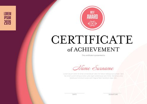 Solid pink certificate template