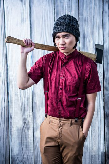 Hipster holding a axe