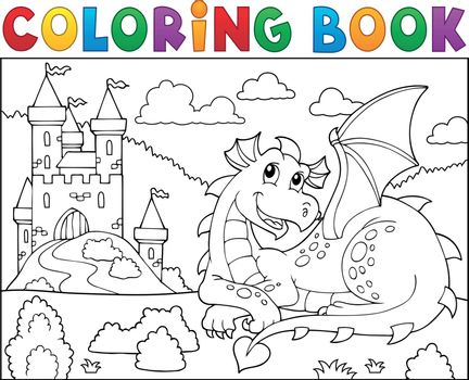 Coloring book lying dragon theme 2 - eps10 vector illustration.