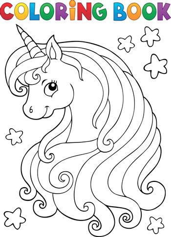 Coloring book unicorn head theme 1 - eps10 vector illustration.