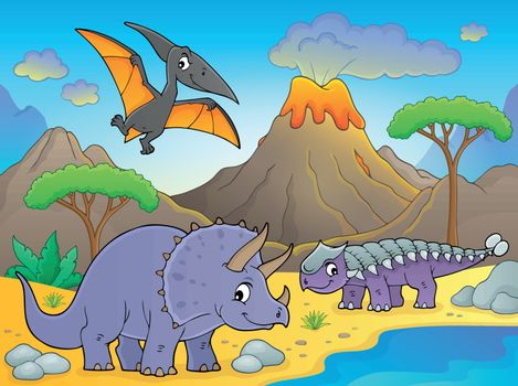 Dinosaurs near volcano image 1 - eps10 vector illustration.