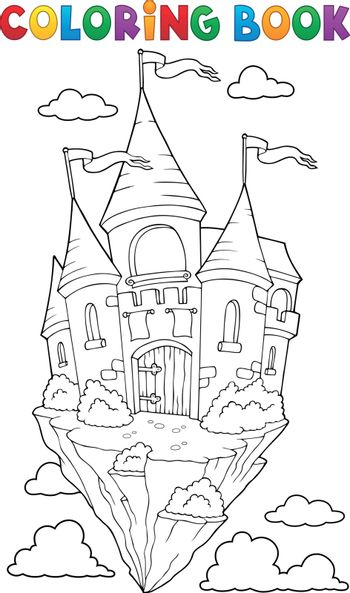 Coloring book flying castle theme 1 - eps10 vector illustration.