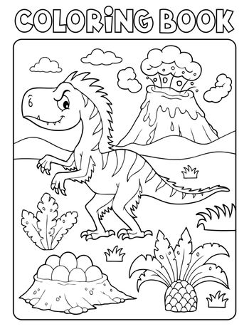 Coloring book dinosaur composition image 4 - eps10 vector illustration.