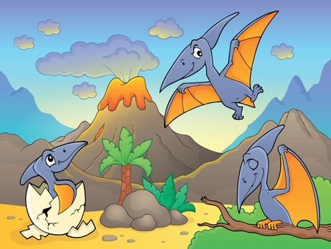 Pterodactyls near volcano image 1 - eps10 vector illustration.