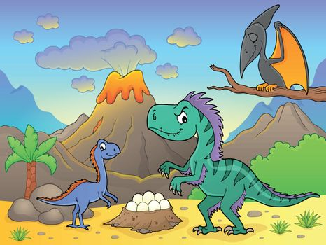 Dinosaurs near volcano image 2 - eps10 vector illustration.