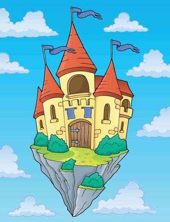 Flying castle theme image 2 - eps10 vector illustration.