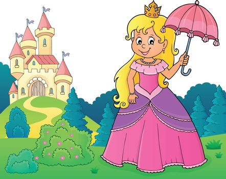 Princess with umbrella theme image 3 - eps10 vector illustration.