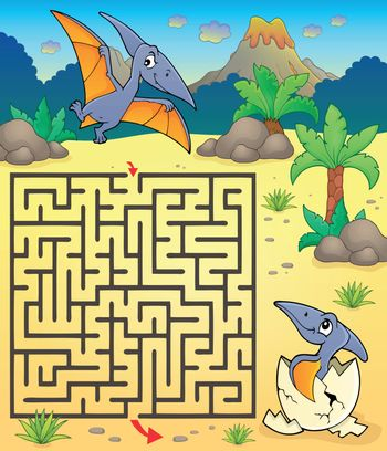 Maze 3 with pterodactyls - eps10 vector illustration.