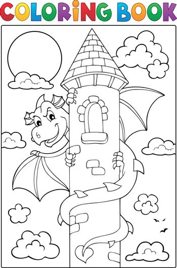 Coloring book dragon on tower image 1 - eps10 vector illustration.
