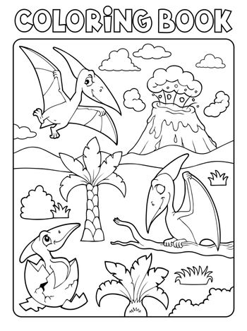 Coloring book pterodactyls theme image 1 - eps10 vector illustration.
