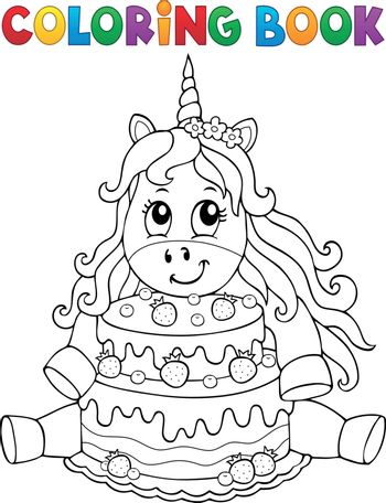 Coloring book unicorn with cake 1 - eps10 vector illustration.